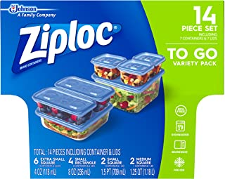 Ziploc Food Storage Meal Prep Containers with One Press Seal, For Travel and Organization, Dishwasher Safe, 14 Piece Set (...