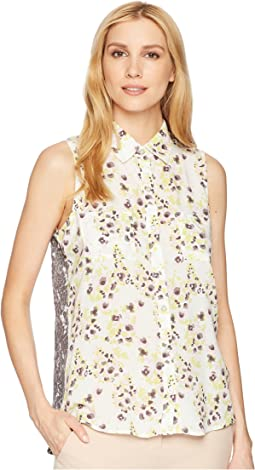 Printed Jersey 3/4 Sleeve V-Neck Top with Lace-Up Detail