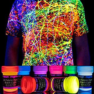 neon nights 8 x UV Fabric Paint Set Fluorescent for Clothing – Vibrant Ultraviolet..