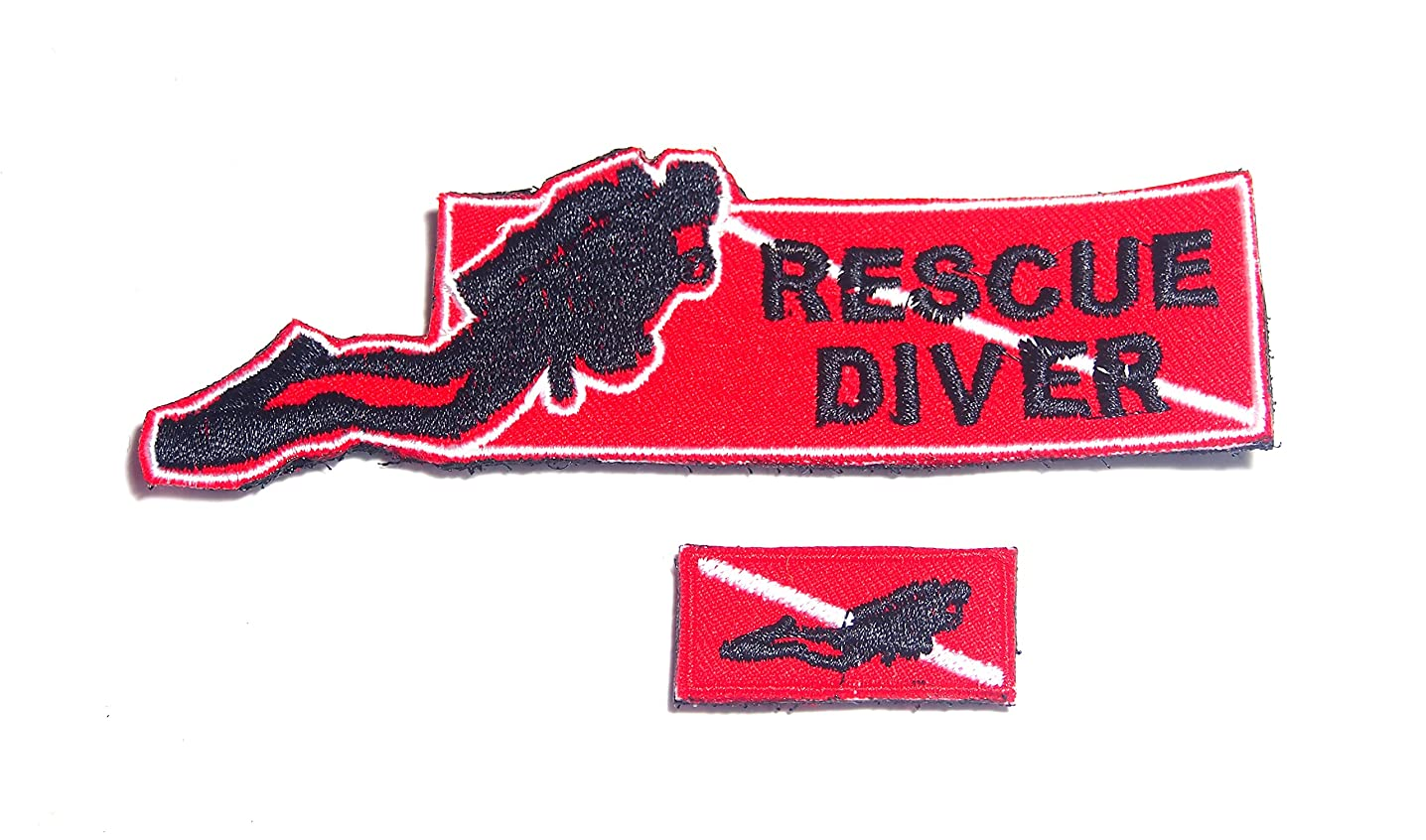 B57 Scuba Diving Diver Flag Rescue Embroidered Morale Patch 2 Pcs 12X3 cm and 3.5X1.5 cm Hook Backing (C)