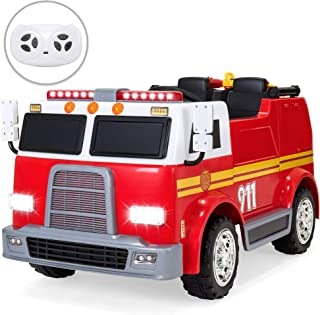 Best Choice Products 12V 2.4MPH 2-Speed Kids Fire Truck Ride On Toy w/ Remote Control, USB, Water Hose, Lights, Sounds