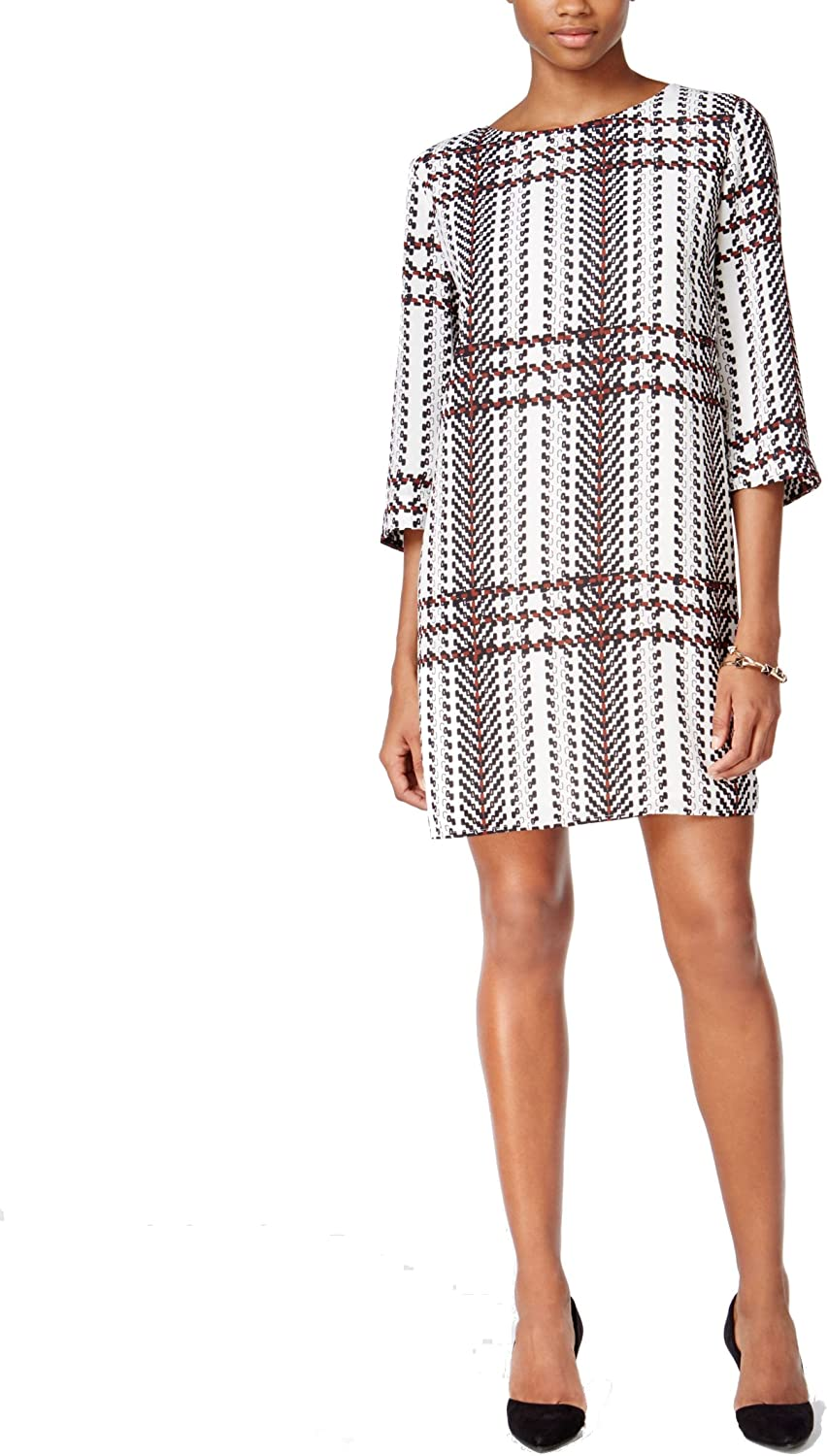 Bar III Women's Printed Shift Dress Egret Combo XL