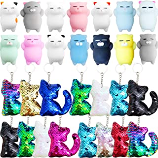 Danirora Cat Party Favors, [30 Pack]Cat Sequin Keychains and Mochi Toys for Kids Birthday Party Supplies Goodie Bag Filler...