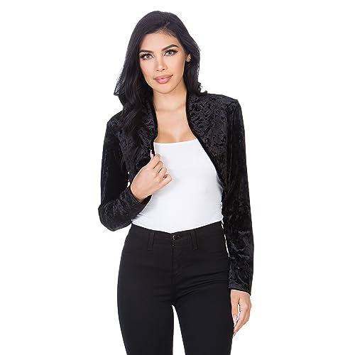 ac76dd18e0b73 Fashion Secrets Women`s Collarless Open Front Velvet Bolero Shrug Cardigan  Cropped Jacket