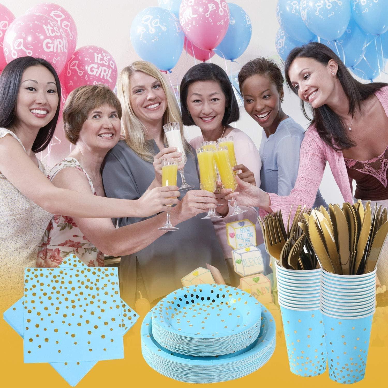 Tazze Set di Stoviglie USA e Getta per Feste Include Piatti di Carta Servire 25 Tovaglioli Forchette Cannucce Tableware per Anniversario Compleanno 200 Pezzi Stoviglie per Feste Blu Coltelli