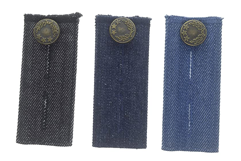 Denim Jean Waist Extenders with Metal Buttons for Men and Women Set of 3