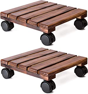 DECOLUXES Lockable Patio Outdoor Roller Flower Pot 12 Inch Heavy Duty Square (2 Pack) Plant Caddy Wooden Stand Wheels, Torched Wood