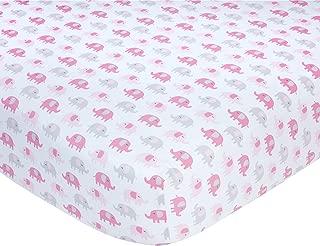 Carter's Pink Elephant Print Cotton Sateen Crib Sheet - 52