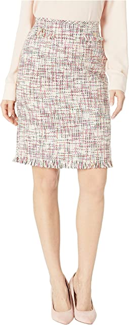 Boucle Pencil Skirt with Frayed Trim