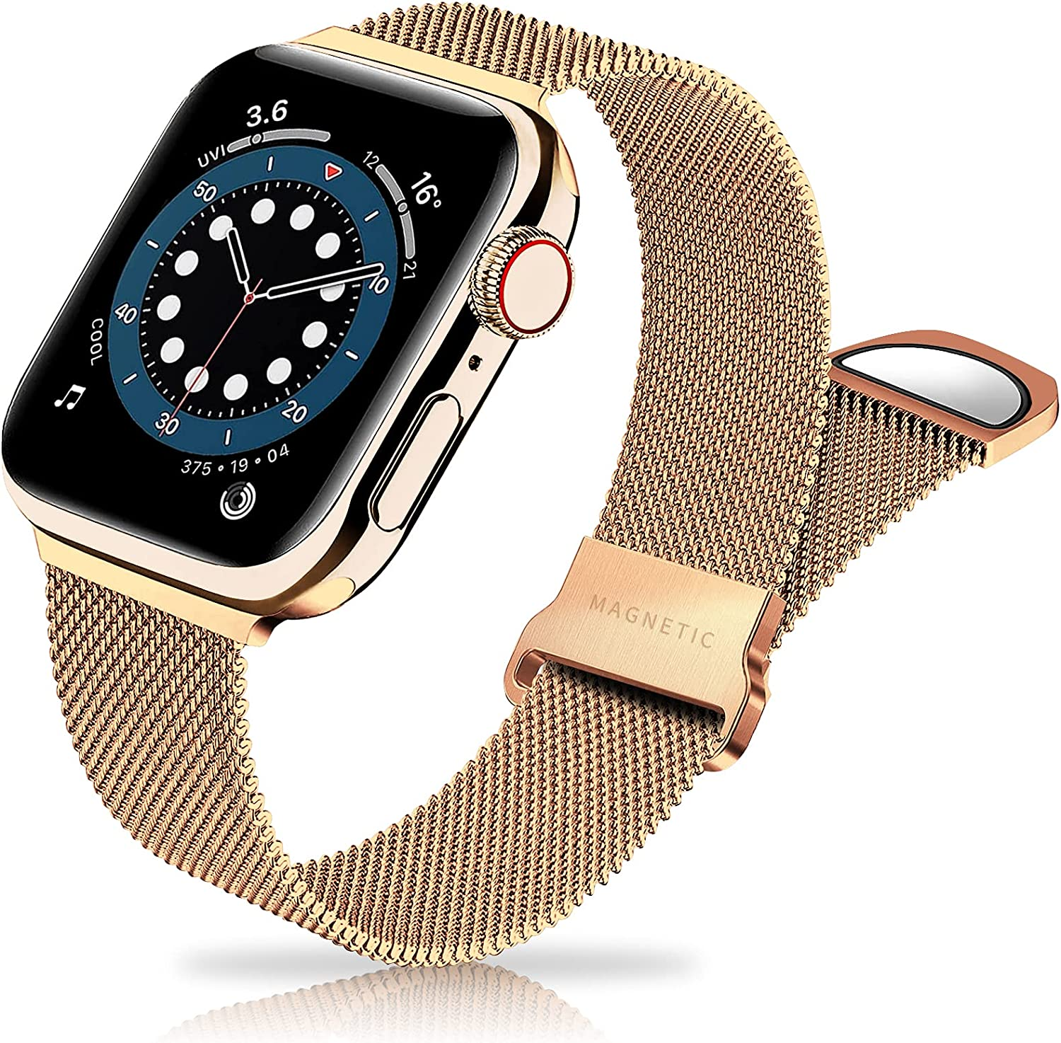 Metal Band Stainless Steel Mesh Magnetic Compatible with Apple Watch Bands 38mm 40mm 41mm 42mm 44mm 45mm, Milanese Sport Clasp Loop Women Men Compatible for iWatch Series 7/SE/6/5/4/3/2/1