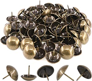 Rustark 100-Pcs 1'' [25×25mm] Antique Upholstery Decorative Tacks Furniture Sofa Thumb Tacks Nails Pins Assortment Kit for Upholstered Furniture Cork Board - Bronze