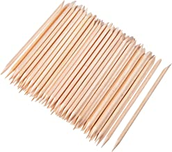 100 Pieces Orange Wood Sticks Nail Cuticle Stick for Pusher Remover Manicure Art Pedicure, 4.3 Inches