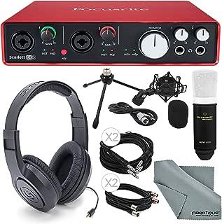 Focusrite Scarlett 6i6 USB Audio Interface and Deluxe Accessory bundle with Samsun Stereo Headphones + Marantz Professional MPM 1000 Large-Diaphragm Condenser Microphone + Shockmount + More