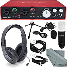 Focusrite Scarlett 6i6 USB Audio Interface and Deluxe Accessory bundle with Samsun Stereo Headphones + Marantz Professional MPM 1000 Large-Diaphragm Condenser Microphone + Shockmount + More