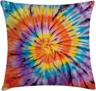Ambesonne Tie Dye Decor Throw Pillow Cushion Cover by, Abstract Odd Spiraling Concentric Circle Retro Famous Counter Culture Artwork, Decorative Square Accent Pillow Case, 24 X 24 Inches, Multi