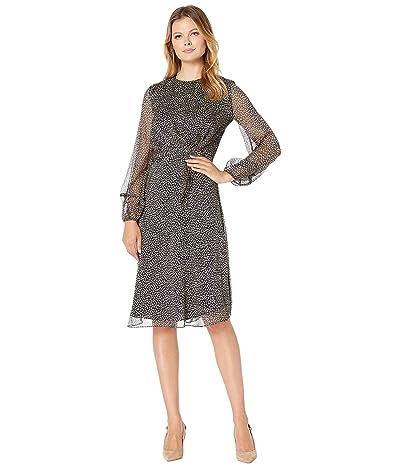LAUREN Ralph Lauren Tie-Waist Georgette Dress (Lauren Navy/Taupe) Women