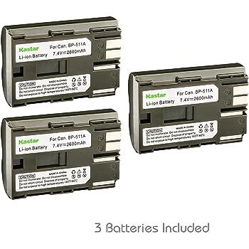 Kastar Battery X2 Grip BG-E2N /& LCD Slim USB Charger for Canon BP-511 BP-511A and EOS 5D 10D 20D 30D 40D 50D Digital Rebel 1D D60 300D D30 Kiss Powershot G5 Pro 1 G2 G3 G6 G1 Pro90 Optura 20