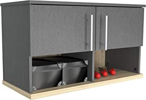 Inval KRATOS Garage 2-Door Wall Mounted Storage Cabinet with Open Space, Graphite Grey and Maple