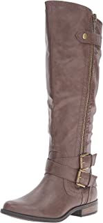 Rampage Women's Hansel Zipper and Buckle Knee-High Riding Boot,Brown Sm Brown Smooth,6 B(M) US Wide Calf