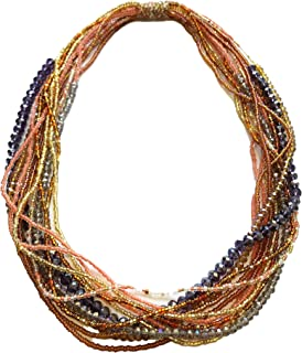 Mayan Arts Multi Strand Beaded Necklace, Multi Color, Rose Gold Tones, Sparkly Beads, Women Necklaces, Jewelry, Magnetic Clasps, 19.5 Inches Long