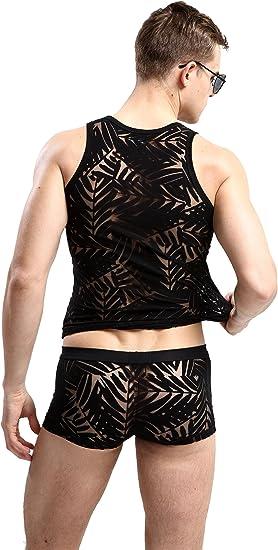 New Men/'s Leopard Printed Undershirt Tank Tops Vest Briefs Stretchy Underwear