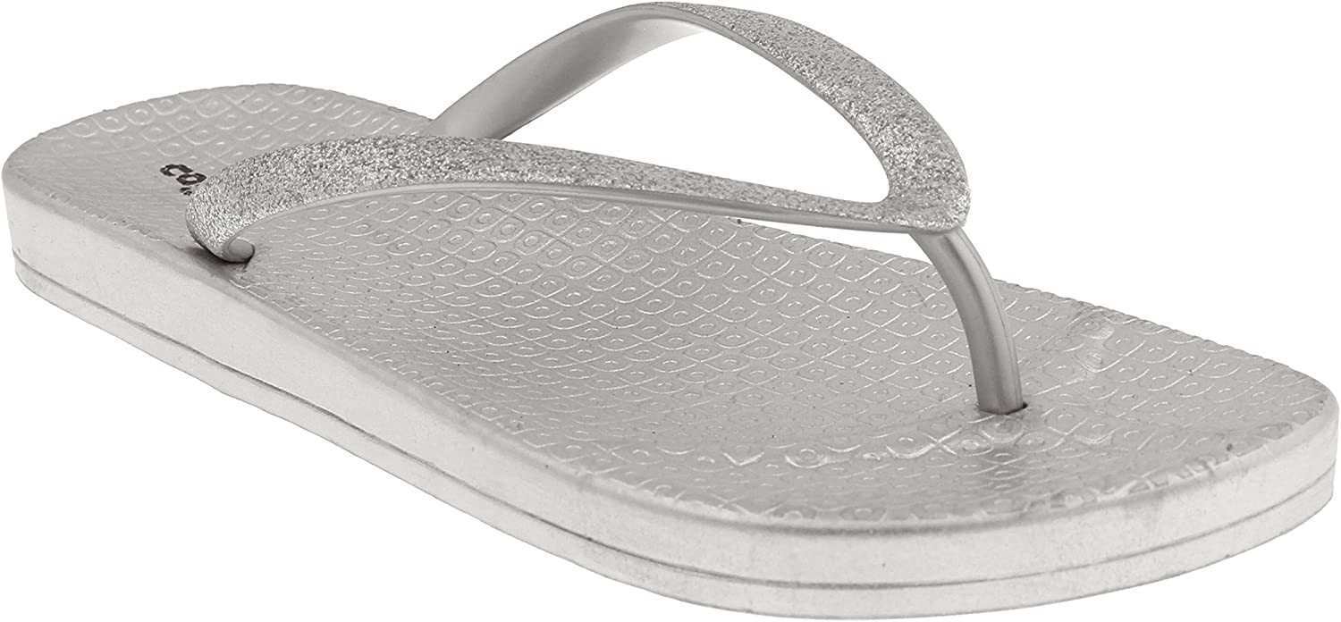Capelli New York Ladies Glitter Faux Leather Jelly Flip Flops