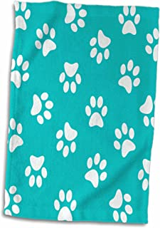 3D Rose Teal Blue and White Paw Print Pattern - Turquoise Pawprints - Cute Animal Eg Dog Or Cat Footprints Towel, 15