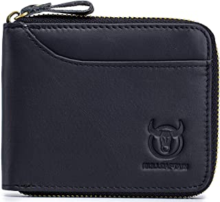 BULLCAPTAIN Men's Genuine Leather Zipper Wallet RFID Blocking Bifold Multi Card Holder Purse