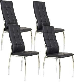 Miroytengo Pack 4 sillas Laci Estilo Moderno Negras Comedor salón Polipiel cromadas 101x51x45