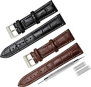 CIVO 2 Packs Genuine Leather Watch Bands Top Calf Grain Leather Watch Strap 16mm 18mm 20mm 22mm 24mm for Men and Women