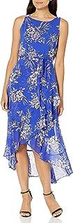 Sandra Darren womens 1 PC Sleeveless Uneven Hem Belted Chiffon Dress Casual Dress