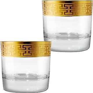 Zwiesel 1872 Hommage Gold Classic Whiskyglas Klein, 2er Set, Whisky Tumbler, Spirituosen Glas, Kristallglas, 284 ml, 120623