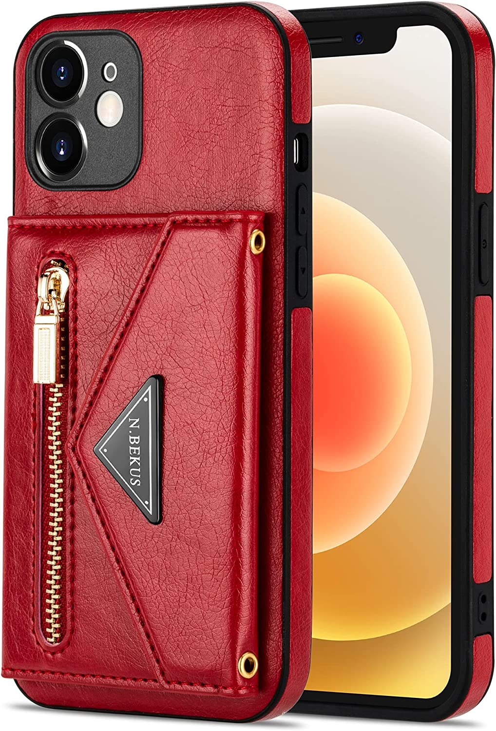 Crossbody Wallet Case for Samsung Galaxy A12 5G with Card Holder, Zipper Back Flip Card Slot Protector Shockproof Purse PU Leather Cover with Removable Cross Body Strap (Red)