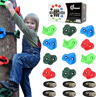 Odoland Ninja Tree Climbers, 12 Kids Rock Climbing Holds with 6 Sturdy Ratchets Straps for Outdoor Ninja Warrior Obstacle Course Training for Child and Adult
