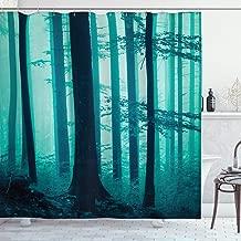 SZZWY Deep Foggy Forest Leaves Night Dreamy Ripple Effect Fairytale Horror Concept with Hook Fabric Bathroom Decoration Home Decor Bathroom Easy to wash Shower Curtain Blue