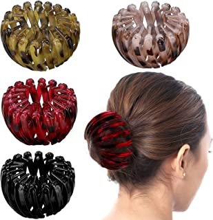4 Pieces Vintage Geometric Retractable Hair Loops Expandable Ponytail Holder Clip Bird Nest Shaped Hair Clips Hair Donut B...