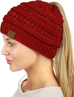 C.C BeanieTail Sparkly Sequin Cable Knit Messy High Bun Ponytail Beanie Hat