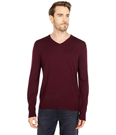 J.Crew Xinao Merino V-Neck (Dark Burgundy 2) Men