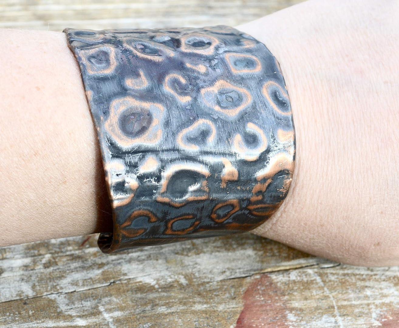 Leopard Cheetah Cat Zebra Skin Print Unisex Copper Contemporary Industrial Southwestern Embossed Handmade Cuff Bracelet Renaissance Steampunk Statement Gothic