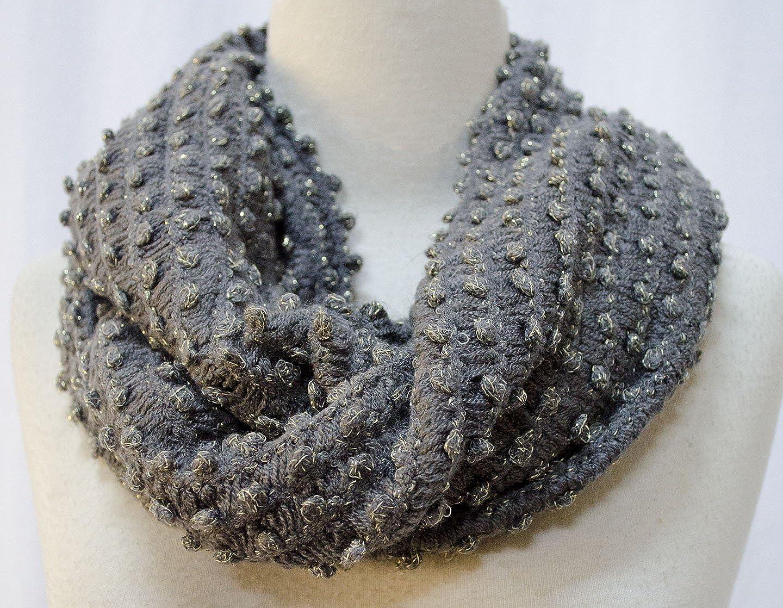 Knit Bubble Infinity Circle Loop Scarf Shawl Wrap Dark Grey Gold