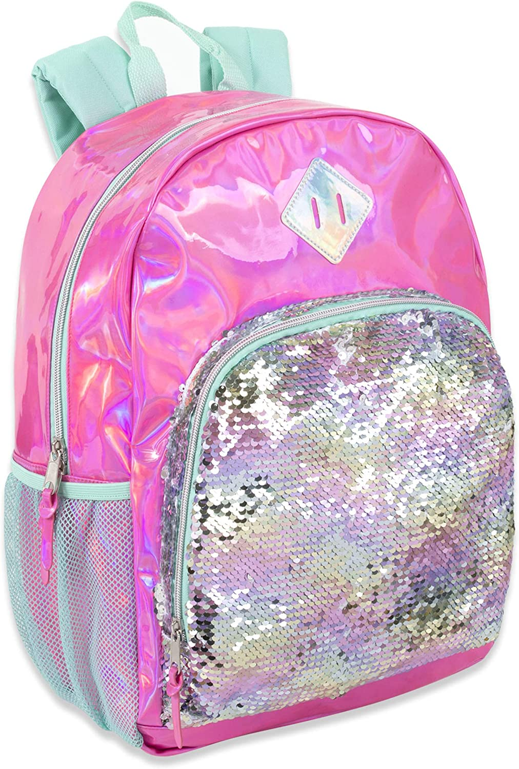 Holographic Laser Long Beach Mall Leather Reversible for Max 83% OFF Backpacks Sequin Women