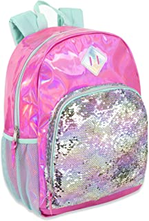 Holographic Laser Leather Reversible Sequin Backpacks for Women and Girls, with Water Bottle Holder, Padded Straps