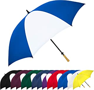 StrombergBrand Large Golf Windproof Umbrella 62 Arc Size for Men & Women – Rain Protection Outdoor Umbrellas with Wooden Handle – Manual Opening, Rustproof, Lightning Resistant, Royal Blue/White