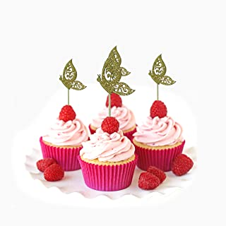 Butterfly Cupcake Topper card stock Color Red 12 pc Pack Decoration Easter hunt spring