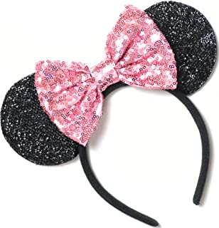 CLGIFT Pink Mickey Ears, Rainbow Minnie Mouse Ears, Sparkly Minnie Ears, Mouse Ears, Electrical Parade Ears,