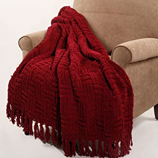 """Home Soft Things Cable Knitted Throw Couch Cover Blanket, 50"""" x 60"""", Burgundy"""