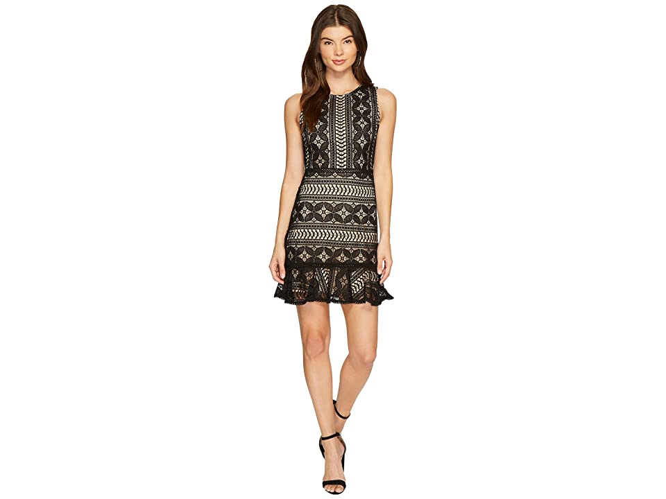 J.O.A. Sleeveless Ruffle Hem Mini Dress (Black) Women
