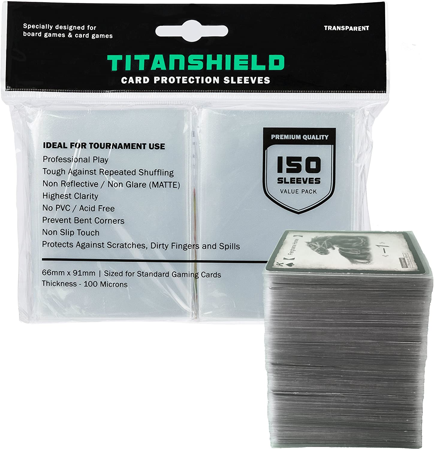 TitanShield (150 Sleeves) (Clear) Standard Size Dual Textured Board Game and...