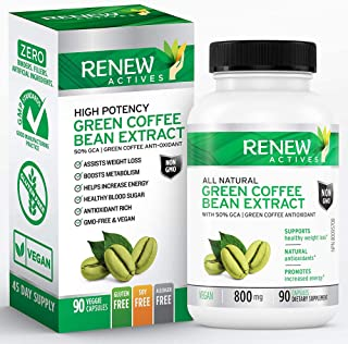 Renew Actives Coffee Bean Extract: 800mg Green Coffee Bean Extract Capsules - Vegan Green Coffee Bean Powder Extract Suppl...