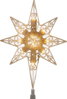 National Tree 11 Inch Bethlehem Star Tree Topper with 10 Battery Operated Warm White LED Lights ((TA21-11LSW-B1)